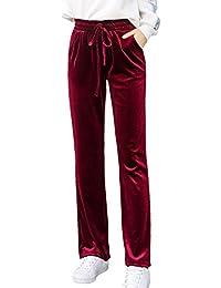 Pantalones De Terciopelo para Mujer De Invierno Casual con Cordón De Pierna  Recta Ropa Diaria 6fcad4efefdd