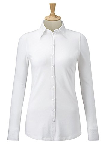 Russell Collection Women's Stretch Formal Long Sleeve Top Weiß
