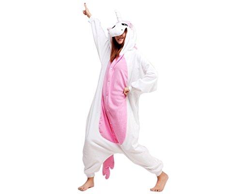 DSstyles Einhorn Pyjamas Mädchen Tier Onesie Cosplay Kostüm für Frauen One Piece Nachtwäsche Neuheit Mit Kapuze Kostüm - Rosa - ()