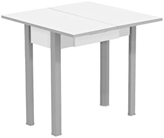 Mesa de cocina color blanco extensible plegable tipo libro con cajón y patas gris (Medidas 80/40cm ancho x 80cm largo x 77 altura)