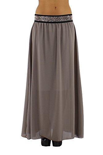 jowiha Leichter Chiffon Maxirock Sommerrock auch für große Damen 95 oder 110cm lang mit Unterrock elastischem Bund mit Strass Einheitsgröße 34-42 S-L Taupe 110cm