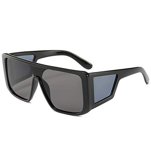Vintage Square Sonnenbrillen, Schild Stil Sonnenbrillen Frauen Männer Cool Side Lens Sonnenbrille Großen Rahmen Strand Wesentlich (Farbe : 1, größe : 141mm)