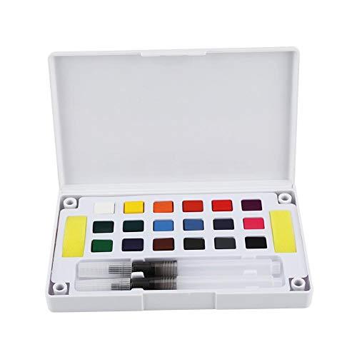 Deckfarbkasten Aquarellfarbe Set Wasserfarbe mit Pinsel Malkasten für Anfänger Profis Zeichnung(18 Colors)