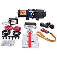 WinchPro AG/AW-4500S Cabrestante Eléctrico 12V 2000kg/4500lbs, 15m De Cuerda De Dyneema Sintética, 2 Mandos A Distancia (1 Inalámbrico, 1 Cable), Placa De Montaje, Ideal Para Atv