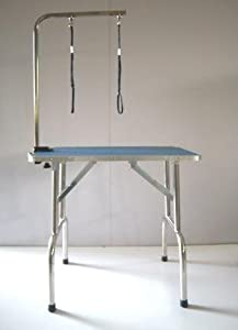 Dog Cat Grooming Table 95cm x 55cm x 78cm Stainless Steel Frame and Legs Adjustable Portable Folded from KMS