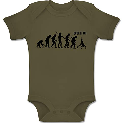 Shirtracer Evolution Baby - Turnen Evolution - 1-3 Monate - Olivgrün - BZ10 - Baby Body Kurzarm Jungen Mädchen
