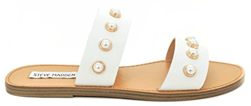 Steve Madden Ciabatta Jole Bianco Due fasce - 38 (Sandale Für Damen Von Steve Madden)