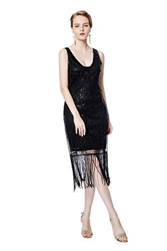 Metme Damen Vintage 1920er Jahren inspirierte Fransen Perlen Jugendstil Gatsby Party (Adult Flapper Fashion (rot) Kostüme)