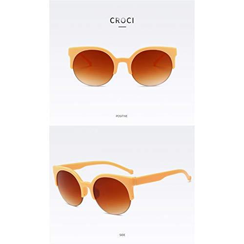 CCGKWW Oculos De Sol Feminino Mode Retro Designer Super Runde Kreis Brille Cat Eye Damen Sonnenbrille Brille