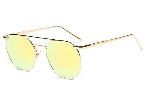KLXEB Damen Sonnenbrille Marke Designer Vintage Ovale Sonnenbrille Weibliche Doppel Deck Legierung Rahmen Spiegel Uv 400 Männliche Fahrradzubehör Unisex, Gelb