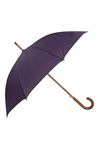 Mountain Warehouse Klassischer Schirm - Einfarbig - Extra Schutz, stylisher Sonnenschirm, leicht, Gartenschirm mit Holzgriff - Für Picknick Beerenton