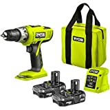 RYOBI 18V CORDLESS HAMMER DRILL .COMPLETE WITH X2 LITHIUM BATTERIES ,FAST GREEN SUPER LIGHTWEIGHT CHARGER AND RYOBI CANVAS TOOL BAG ,COMPLETE