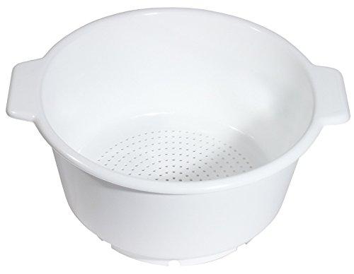 Seiher aus weißem Polypropylen, lebensmittelecht, mit zwei Griffen/Inhalt: 10 ltr, Ø 36 cm, Höhe: 19 cm   ERK Erk 19