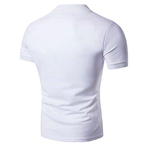ZhiYuanAN Polo Cuciture A Maniche Corte Da Uomo Risvolto Sport Tempo Libero Polo Camicia Slim Fit Polo T-Shirt Bianco
