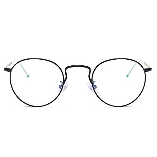 Sakuldes Brille mit rundem Rahmen, Vintage-Stil, Nicht verschreibungspflichtige Brille für Damen und Herren Schwarz