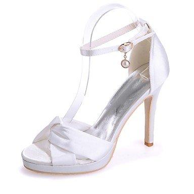 Sanmulyh Chaussures Femme Satin Printemps Eté Pompe Base Null Sandales Talon Stiletto Bout Ouvert Boucle Null Pour Party & Soirée Robe Ivoire Champagne Blanc