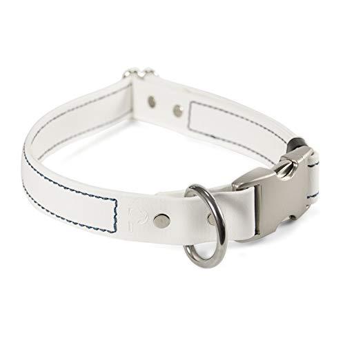 PACKT - Hundehalsband - Schnellverschluss-Schnalle, wasserdicht und geruchsdicht für Outdoor-Abenteuer, handgefertigt in den USA, S, weiß