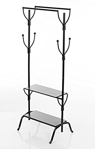 Large Designer Vintage-Style Black Steel Traditional Double Clothes Rack with Twin Metal Rails & Two Dark Wood Shelves – Perfect Clothing Shoes Bags Hats Storage for Bedrooms Closets & Boutique