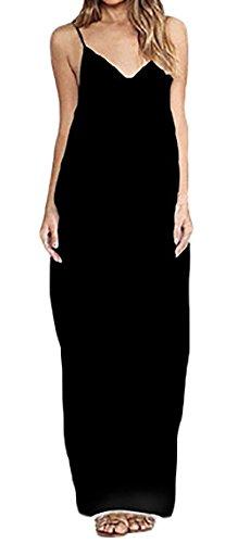 Mesdames Robes Longues Boheme Ample Elegantes Vintage Robes Casual Robes D'Été Noir