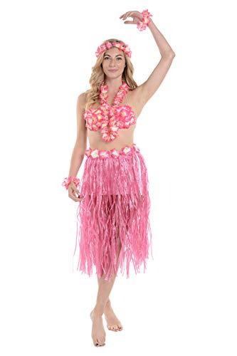 Kostüm Girl Hula Männer - Zac's Alter Ego®® - Damen Luau-/Hawaii-Set zum Verkleiden - ideal für den Sommer - 6-teilig - Einheitsgröße