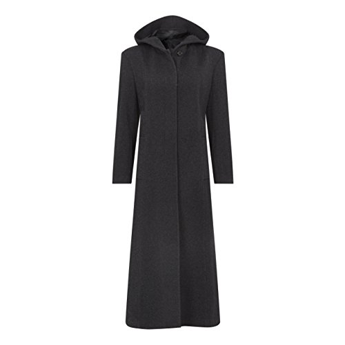 De La Creme - Frauen Winter-Wolle & Kaschmir mit Kapuze voller Länge Mantel, Grau, Größe 46 -