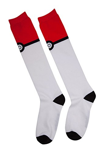 Meroncourt-Pokemon-Womens-Pokeball-Knee-High-Socks-One-Size-Multi-Colour-Kh021025Pok-Calcetines-Altos-para-Mujer-100-DEN-Blanco-Talla-nica