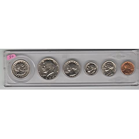1980 BIRTH YEAR SET- 6 - SBA DOLLAR, HALF DOLLAR, QUARTER, DIME, NICKEL, AND CENT- (Mint Uncirculated Coin)
