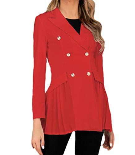 CuteRose Women's Double Breasted Solid Mid-Long Peplum Slim Jacket Blazer Red XL -
