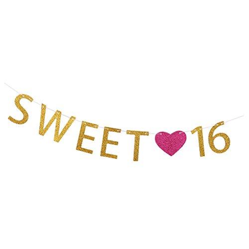 (Gazechimp Papier Geburtstag Wörter Wimpel Girlande Süße Bunting Wimpelkette JGA Party Dekoration - Sweet 16)