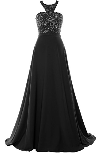 MACloth Halter Beading Chiffon Long Prom Party Dress 2018 Formal Evening Gown Black