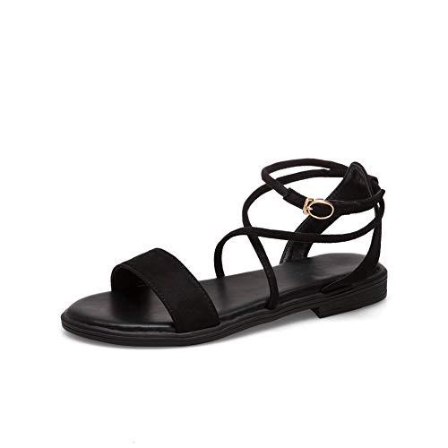 Aimint EYR00537 Damen Sandalen mit Schnürung, Schwarz - Schwarz - Größe: 37 EU (Caged Keil Sandalen)