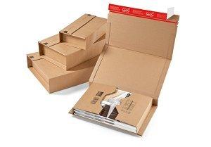 1 Verpackungseinheit (20 Stück) klassische Versandverpackungen zum Wickeln, braun<br/>Innenmaße: L 302 mm x B 215 mm x H -80 mm<br/>passend für A4<br/>139 g