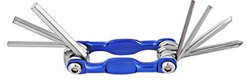 Preisvergleich Produktbild Fahrrad Zubehör - Multitool, Multifunkitionoswerkzeug, 7 in 1 Reperaturkit, Fahrradreparatur - Werkzeugset für unterwegs mit Schlitzschraubendreher,Kreuzschraubendreher und Sechskantschlüssel Inbusschlüssel, klappbar, Blau