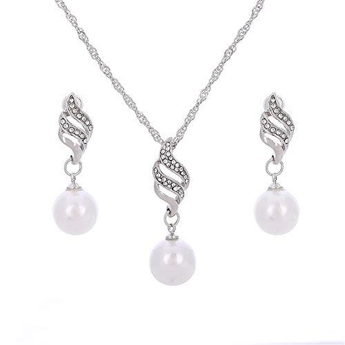 ZQword Vintage Perlenkette Gold Silber Farbe Schmuck-Set Für Frauen Klar Kristall Elegante Party Mode Kostüm ()
