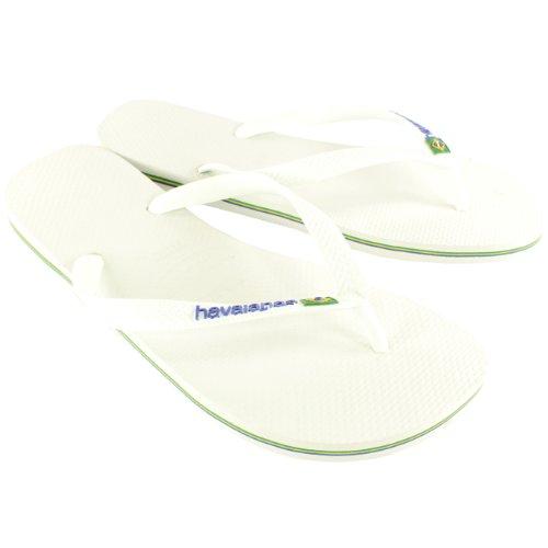Herren Havaianas Brasil Logo Sommer Flip-Flops Sandale Schlüpfen-Auf Wohnungen Weiß