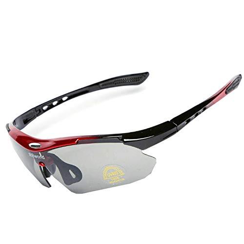 Coniea Radbrille für Brillenträger PC Radbrille Herren Outdoor Brille Rot Grau