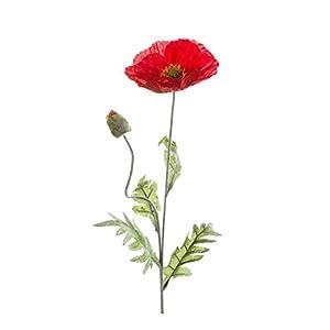 artplants.de Amapola, Rojo, 70cm – Papaver Artificial – Flor Decorativa