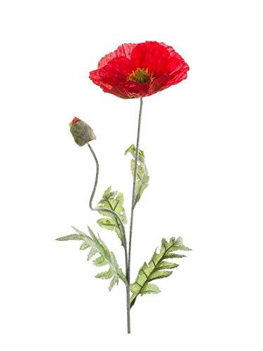 artplants – Künstliche Mohnblume Lissie, rot, 70 cm – Kunstblume Mohn/Deko Blume