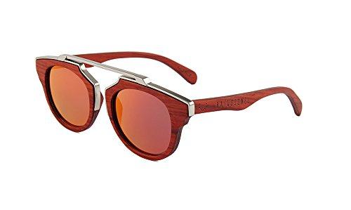 Naturjuwel Holz Sonnenbrille Herren Damen rot braun polarisiert Holzbrille Arthur mit Metallverzierung inklusive Brillenbeutel