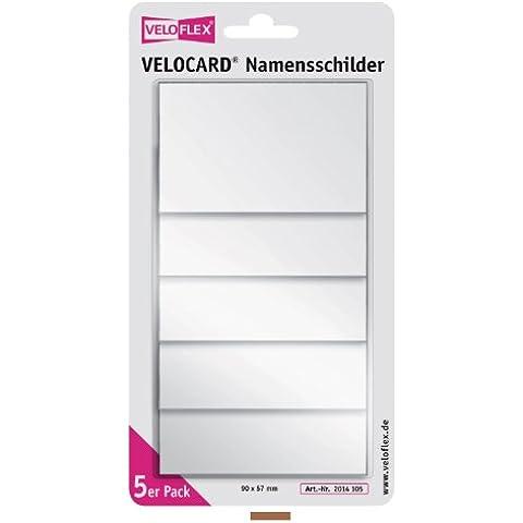 Veloflex 2014105 - Targhetta portanome Velocard, 90 x 57 mm, in PVC duro, con clip e spilla, confezione da 5 pezzi, colore: Trasparente brillante