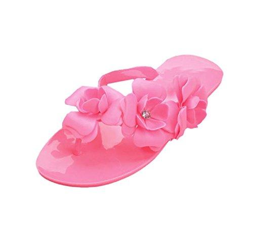 Covermason Bohemien Stil Damen Sandalen Mode flache Ferse Flip Flops Strand Pantoffeln Rosa