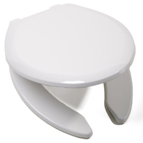 Comfort Seats C1B3E4OS00 EZ Close Premium Plastic Open Front Elongated Toilet Seat, White by Comfort Seats