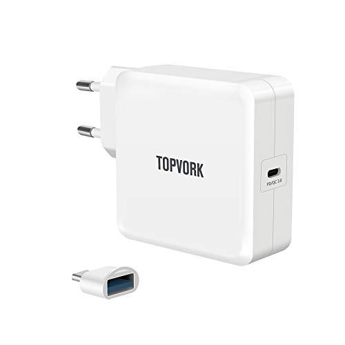TOPVORK PowerPort I USB-C 65W Cargador de alimentación USB con 1 puerto USB  Tipo-C Entrega de energía 3 0 para MacBook, Dell, Xiaomi Air, Huawei
