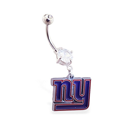 mspiercing Bauch Ring mit Official Licensed NFL Charme, New York Giants (New York Giants Ring)
