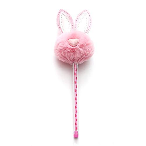 JUNGEN Pluma de gel de pompón creativo con Forma de oreja de conejo Bolígrafos bonitos kawaii para Niña Niño Pluma de firma Papeleria de oficina (Rosa 1)