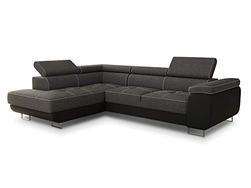 Ecksofa Caris mit Schlaffunktion und einstellbare Kopfstützen, Wohnlandschaft, Couchgarnitur, Bettkasten, Sofagarnitur, Couch, Sofa (Schwarz + Dunkelgrau (Soft 011 + Sawana 05), Ecksofa Links)