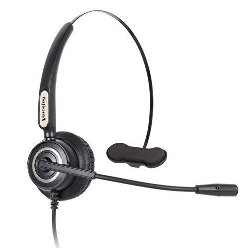 VoiceJoy Call Center Monaural Headset w/Noise Canceling Mic for Polycom Aastra Allworx Alcatel Lucent AltiGen Comdial Digium Mitel Nortel Norstar Meridian Avaya Landline Deskphones -