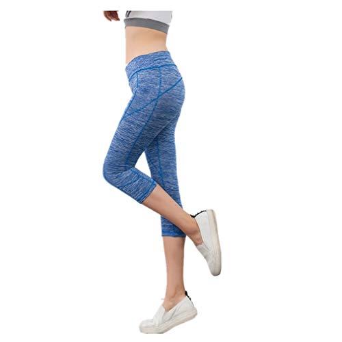 Fliegend Leggings Mujer Cintura Alta Pantalones de Yoga 3/4 Mallas Push Up Leggins Elásticas Pantalones Deportivos