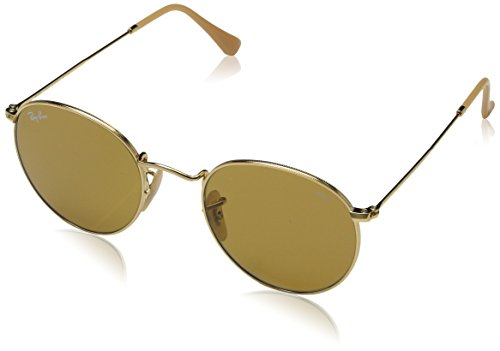 RAYBAN JUNIOR Herren Sonnenbrille Round Metal, Gold/Photobrown, 50