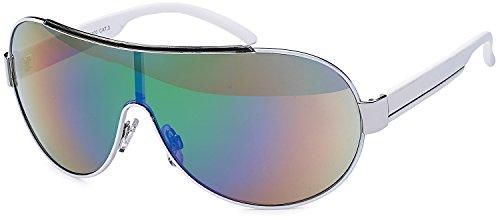 SAMBORA® A60002-3 Unisex Sonnenbrille UV400 Schutz Aviator Style - Rahmen: Weiß Glas: Mehrfarbig